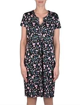 Jump Short Sleeve Abstract Floral Print Dress