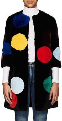 Lisa Perry Women's Polka Dot Rabbit Fur Coat