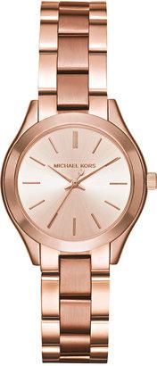 Michael Kors Women's Mini Slim Runway Rose Gold-Tone Stainless Steel Bracelet Watch 33mm MK3513 $195 thestylecure.com