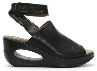 Fly London Hini Black Leather Wedge Sandals