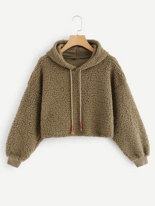 Shein Solid Hooded Teddy Sweatshirt