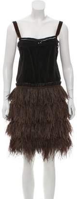 Lanvin Sleeveless Feather Mini Dress w/ Tags