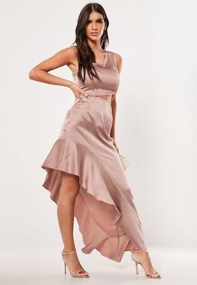 c992bcb044e9 Missguided Blush Satin One Shoulder Cut Out Maxi Dress, Blush