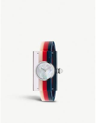 Gucci YA143523 Vintage Web resin and stainless steel watch