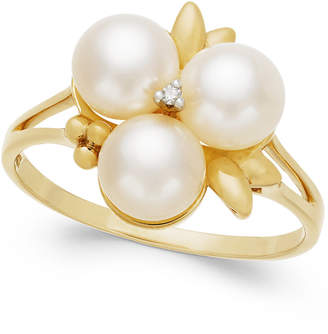 Belle de Mer Cultured Freshwater Pearl (6mm) and Diamond Accent Ring in 14k Gold