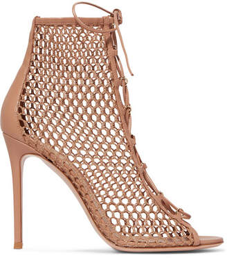 Gianvito Rossi 105 Lace-up Fishnet Ankle Boots - Neutral