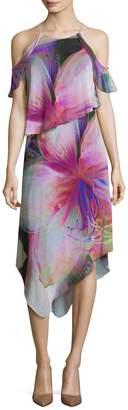 Rachel Roy Women's Printed Asymmetrical Midi Dress