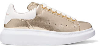 Alexander McQueen Metallic Cracked-leather Exaggerated-sole Sneakers