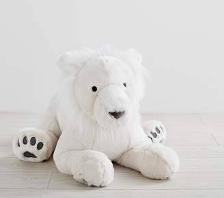 Pottery Barn Kids Sitting Jumbo Faux-Fur Plush Lion White
