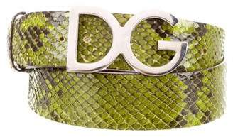 Dolce & Gabbana Logo Snakeskin Belt