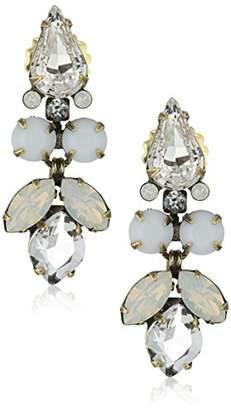 "Sorrelli Pearl Luster"" Floral Multi-Cut Crystal Statement Drop Earrings"