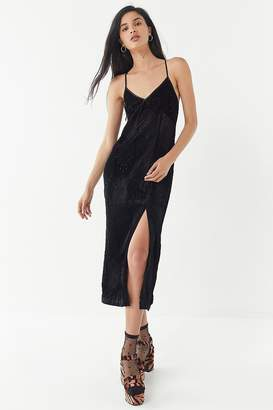 Urban Outfitters Elodie Velvet Embroidered Midi Dress