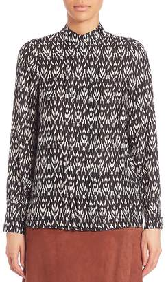 SET Women's Ikat Pleated Front Blouse - Black