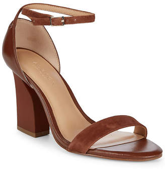 Halston Leather Snake-Print Block-Heel
