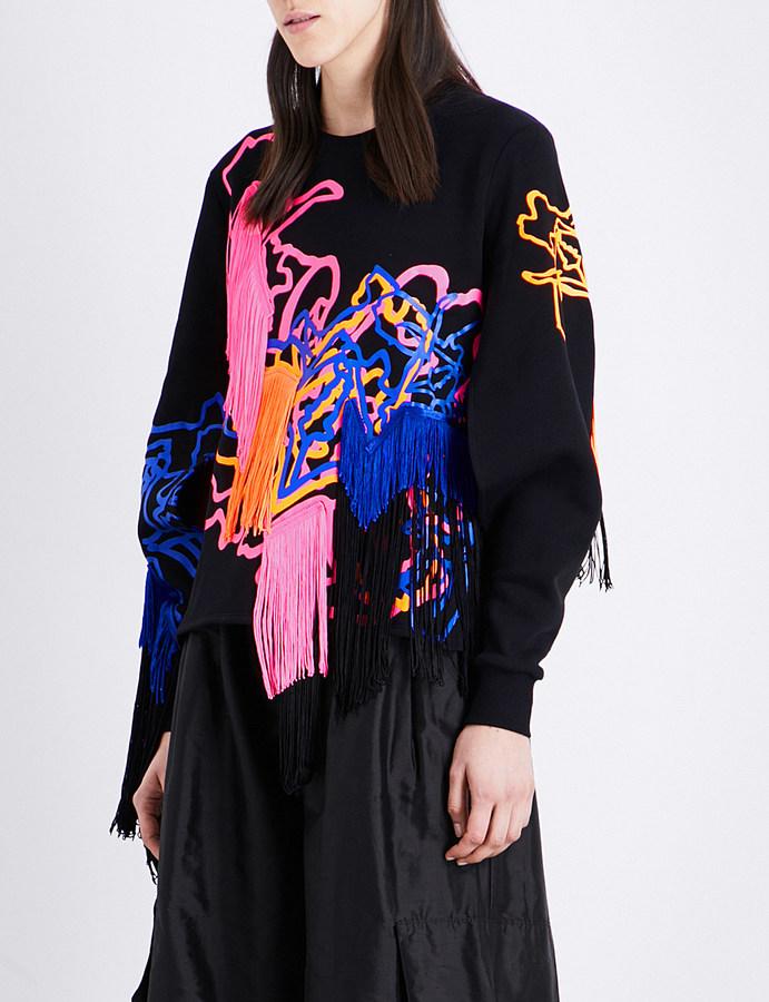 Fyodor Golan Psychedelic fringe cotton-blend sweatshirt