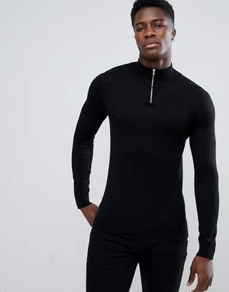 Asos Design DESIGN turtle neck jumper with zip in black
