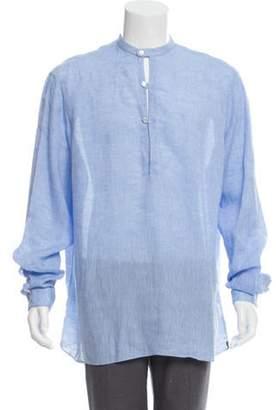 Lardini Mandarin Collar Button-Up Shirt blue Mandarin Collar Button-Up Shirt