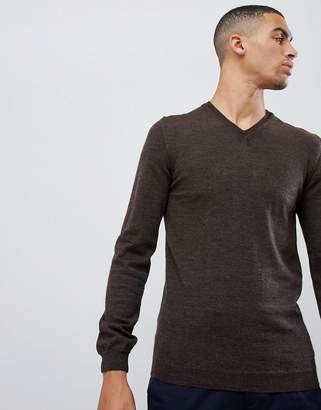 Asos DESIGN Merino V-Neck Sweater In Brown