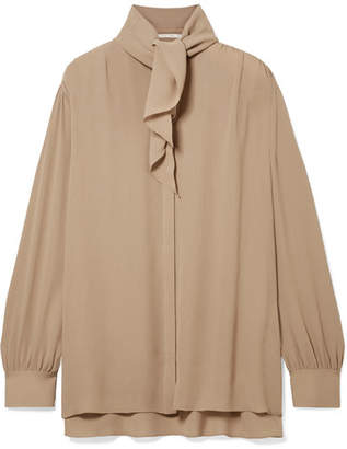 The Row Rudi Oversized Pussy-bow Silk-crepe Blouse - Beige