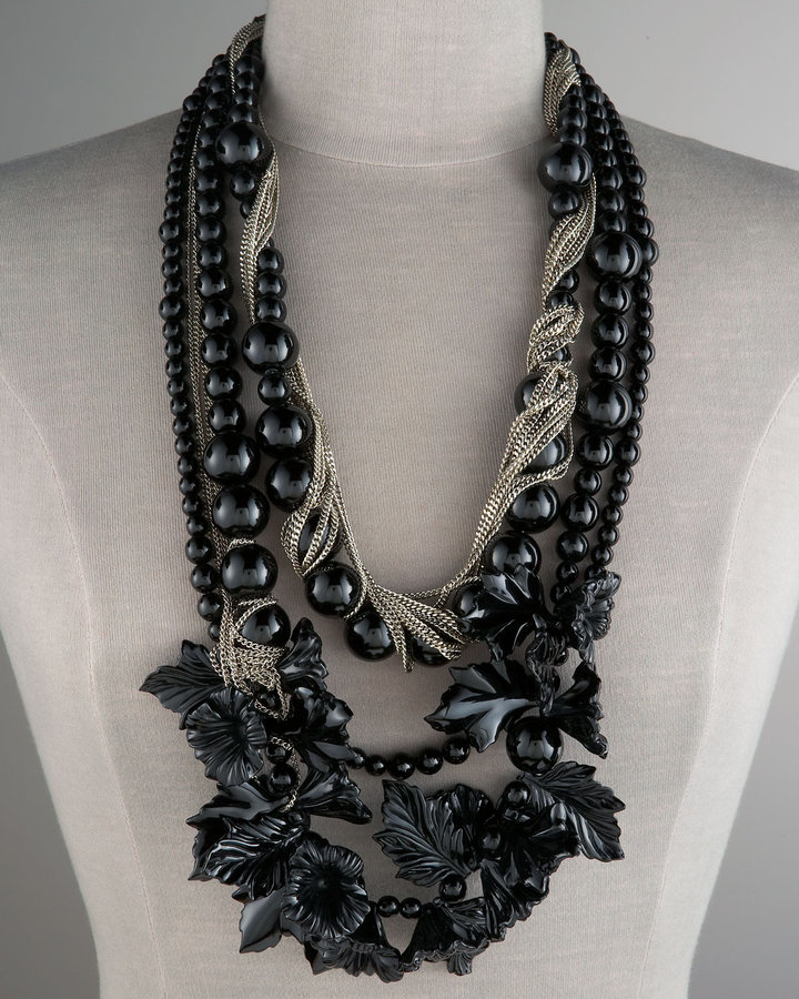 Robert Rodriguez Flowers & Chain Necklace