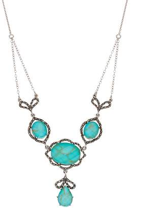 Tori HillSterling Silver Simulated Turquoise & Marcasite Swag Necklace