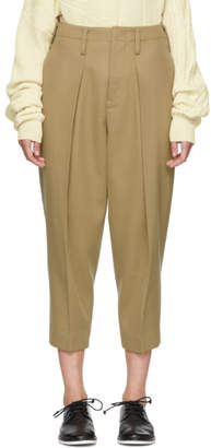 Y's Ys Beige Big Tuck Trousers