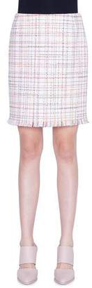 Akris Punto WIndowpane Tweed Fringed Mini Skirt
