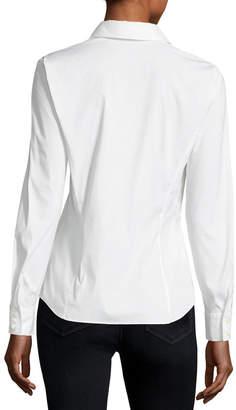 Lafayette 148 New York Stretch Cotton Katie Side-Zip Shirt