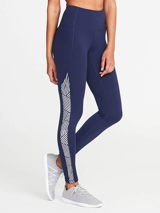 Mid-Rise Printed Side-Stripe Compression Leggings for Women