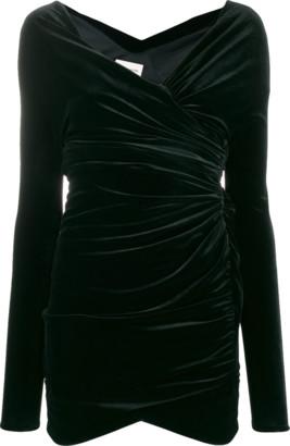 Alexandre Vauthier Velvet Jersey Off Shoulder Mini Dress