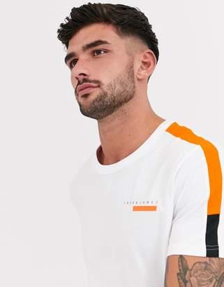 Jack and Jones Core raglan sleeve colour block t-shirt in white