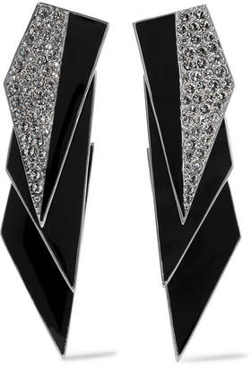 Saint Laurent Smoking Silver-tone, Enamel And Crystal Clip Earrings - Black