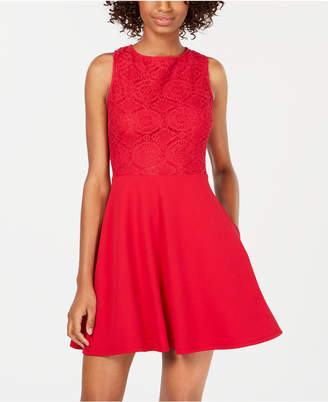 Speechless Juniors' Lace-Contrast Fit & Flare Dress