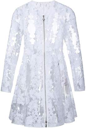 Moncler Gamme Rouge clear PU floral lace coat