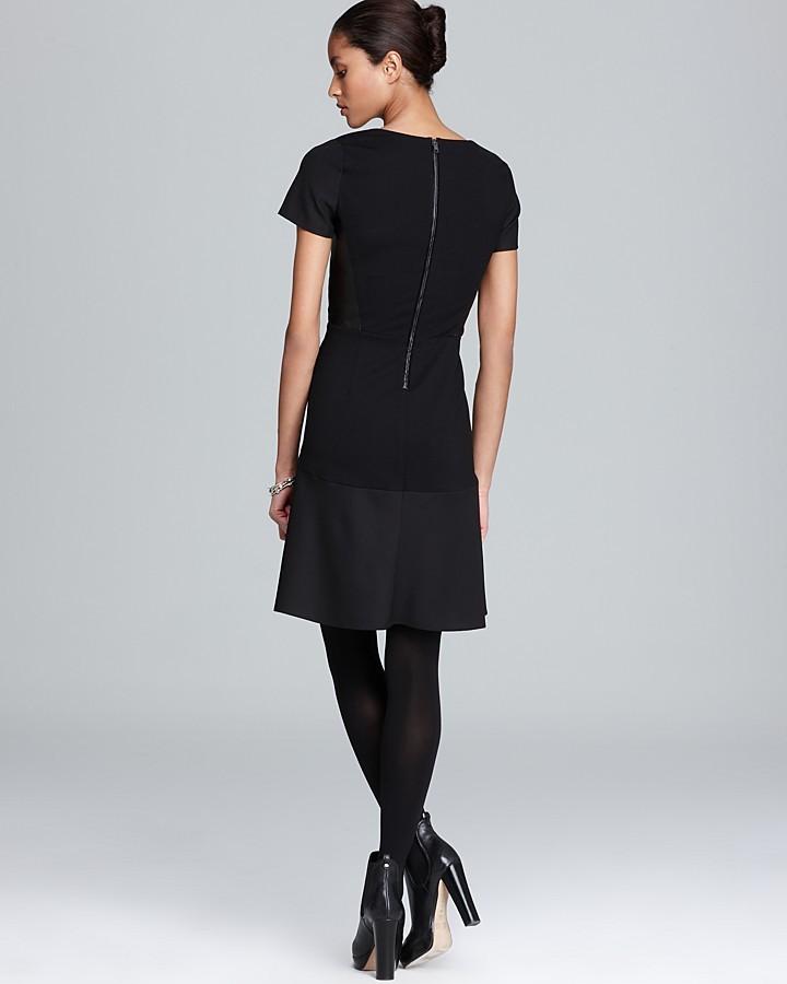 DKNY DKNYC Short Sleeve V Neck Dress with Ponte Panels