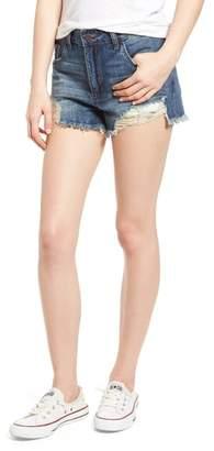 BP High Waist Frayed Hem Denim Shorts