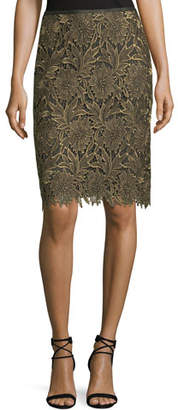 Escada Floral-Lace Lurex® Pencil Skirt