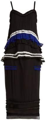 Proenza Schouler Ruffled Silk Two Piece Dress - Womens - Black