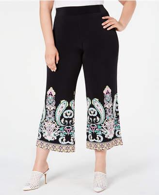INC International Concepts I.n.c. Plus Size Printed-Hem Cropped Pants