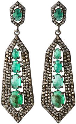 Bavna Silver Spike Drop Earrings with Green Emerald & Diamonds