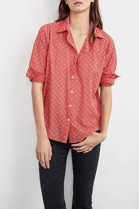 Velvet Button-Down Tunic Top