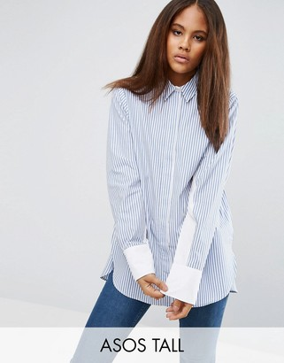 ASOS Tall ASOS TALL Oversized Stripe Shirt with Contrast Batwing Sleeve $52 thestylecure.com