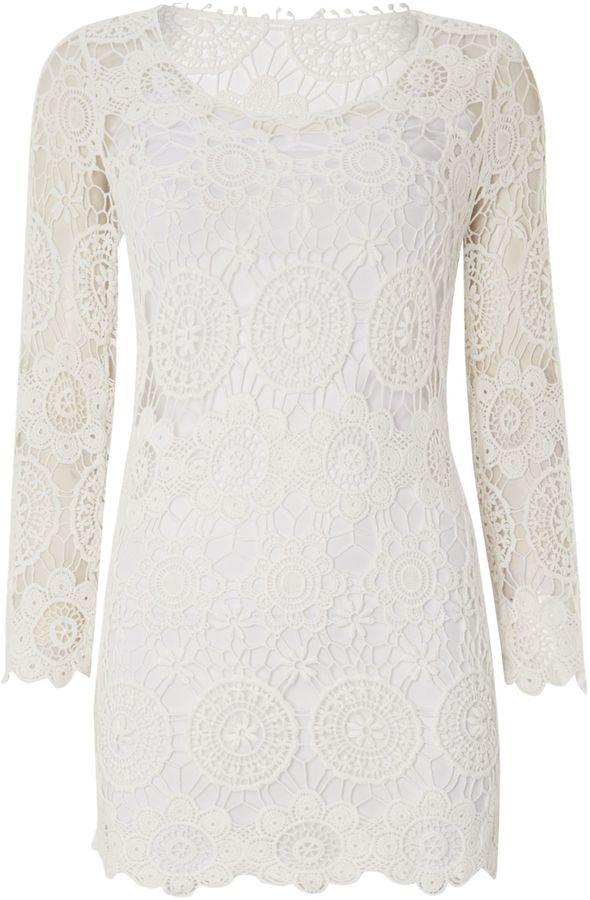 Reverse Long sleeved crochet dress