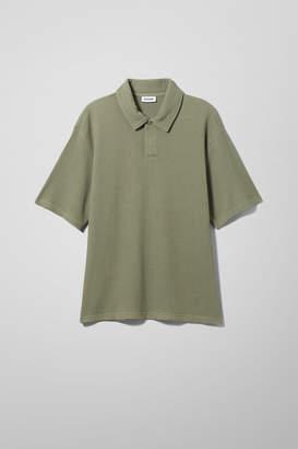 Weekday Gino Waffle Polo Shirt - Green