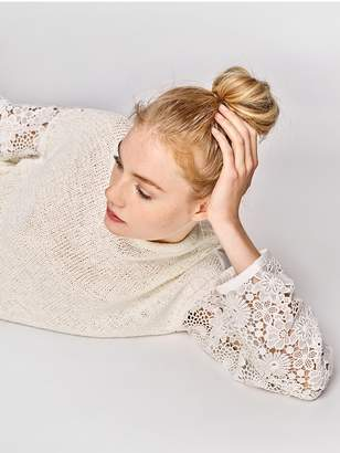 White + Warren Waxed Tape Floral Lace Sleeve Crewneck