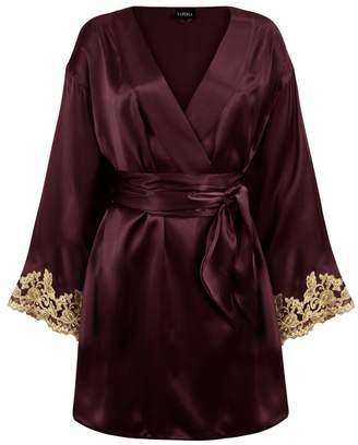 La Perla Maison Bordeaux Red Silk Satin Short Robe With Frastaglio