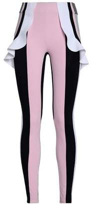 NO KA 'OI Ruffle-trimmed Color-block Stretch Leggings