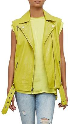 Kenneth Cole Women's Washed Bright Green Moto Vest