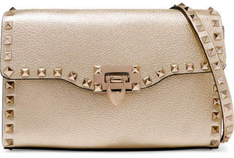 Valentino Garavani The Rockstud Metallic Textured-leather Shoulder Bag - Gold