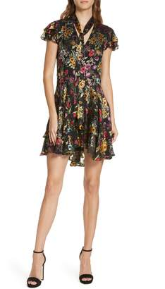 Alice + Olivia Moore Floral Tie Neck Minidress